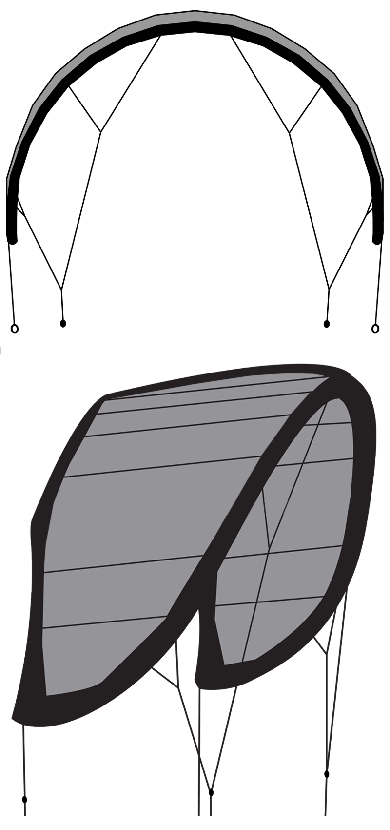 1 aile de kitesurf 1 latte shape design